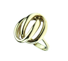 14 kt yellow gold fantasy women's ring - handmade piece of jewellery - ring size 18.5