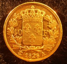 France - 40 Francs 1828 A (Paris) - Charles X - Gold.