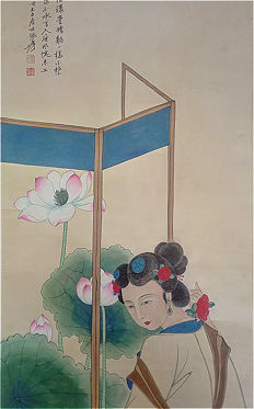 A Hand-paintied(工笔) scroll painting (reproduction Zhang Daqian)《张大千-仕女 立轴》- China - late 20th century