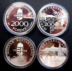 Hungary - 2000 Forint 1997/1998 (4 different coins) - silver