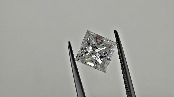 IGL 1.92 carat  princess  natural loose diamond  &  14k gold ring