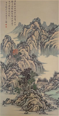 Hand-painted ink painting《黄君璧-山水 立轴》, made after Huang Junbi - China - late 20th century