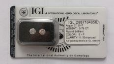 0.76ct 2 Diamonds  Round cut  I1  E-F   IGL Lab report -NO RESERVE