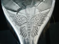 UNUSUAL 3 Piece Silver Grooming Set, Butterfly Decoration, Birmingham 1923, Williams (Birmingham) Ltd