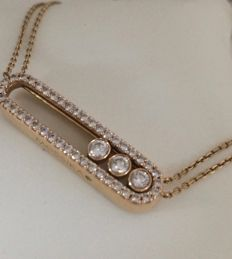 Messika - gorgeous rose gold necklace, 18 kt and diamonds - central pattern 3 cm x 0.8cm - length: 38 - 40 and 42 cm