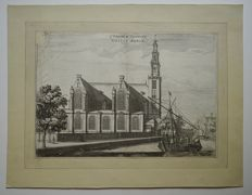 4 prints of the Wester-Kerk in Amsterdam Wester-Kerck (33x24cm) (slightly damaged); Wester-Kerk, inside looking east (17.5x26.5cm); Wester-Kerk (35.5x27,5cm) - View of the Wester-Kerk, from the inside (39x29cm)