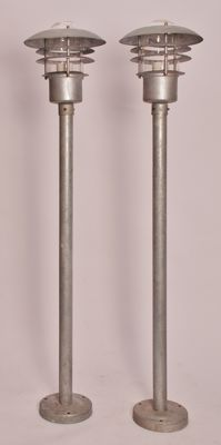Designer and manufacturer unknown - Set of two standing outdoor lantarns