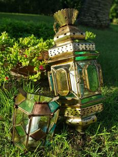 One large and small Moroccan Lantern - stained glass