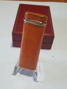 Lighter Cartier Trinity, gold plated, with rare Orange lacquer