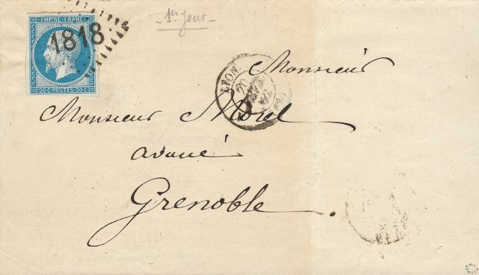 France 1862 - Imperforate Empire 20 centimes blue on a letter, signed 1st day trial cachet from Lyon, signed Roumet - Yvert no 14