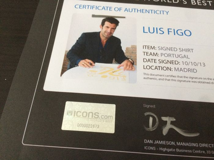 b7a1284fd Luis Figo - Hand Signed Portugal World Cup 2006 shirt in cover + COA ICONS  + Photoproof!