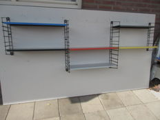 A. Dekker for Tomado - book rack/wall rack, XL, with six shelves and four stands.