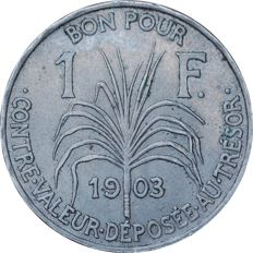 Guadeloupe – 1 Franc, 1903, 'Indian' – Cupronickel