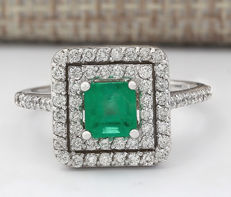 1.70 Carat Emerald 14K Solid White Gold Diamond Ring - Ring Size: 7  - no reserve price -