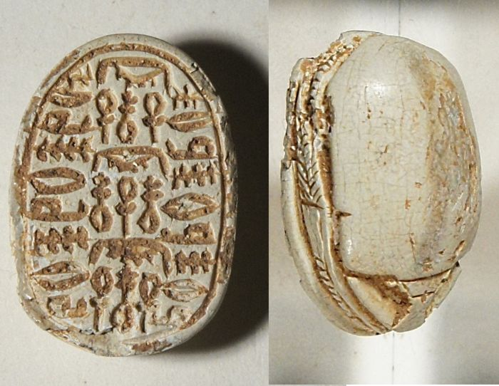 Egyptian steatite scarab with hieroglyphs. S 21x15mm