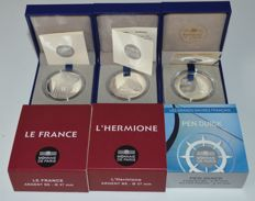 "France - 10 Euro 2012 ""L'Hermione"", ""Le France"" and 2013 ""Pen Duick"" (3 coins) - silver"