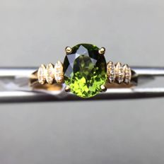 18kt yellow gold ring with Green Tourmaline 1.7ct. and diamonds 0.18ct.***No reserve Price**