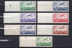 France 1934 - Airmail, Series with plane flying over Paris including 50 Francs green-yellow with Scheller certificate - Yvert PA 8-14.