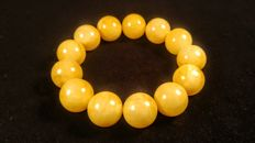 Perfect polished round beads modified Baltic Amber  bracelet, hole diameter ca. 57 mm, 41 grams
