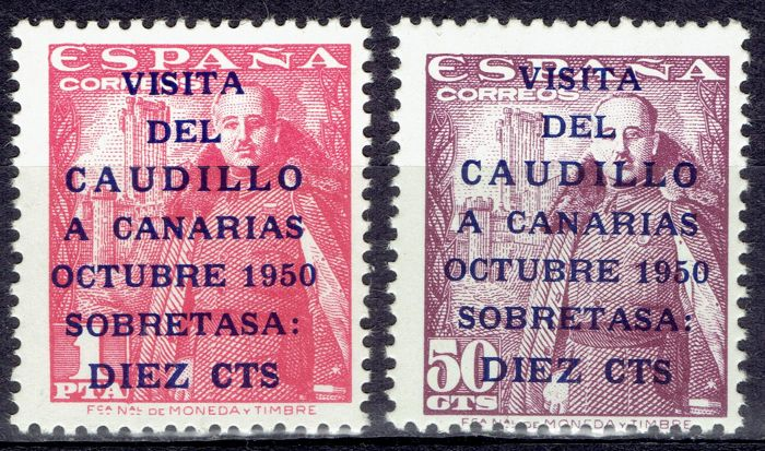 Spain 1951 - Caudillo visit to Canary Islands - Edifil 1088, 1089.