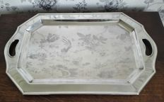 Large silver-plated tray with two handles 32x52 cm