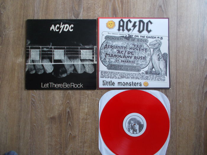"AC/DC  Lot Of 2 Lp  "" Let There Be Rock "" Very Very Rare , And Lp Live Festival , Oakland Stadium , July 21 , 1979 , Colored Vnyl Red"