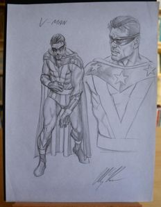 Original Sketch by Alex Ross - V-Man - signed