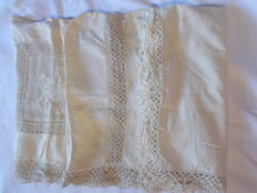 3 antique pillowcases, bobbin laces, fabrics in ivory colour linen, France second half of the 19th century