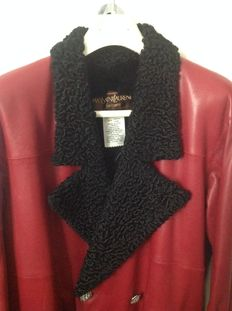 Yves Saint Laurent furs - coat 3/4 in  red calf leather with interior fur