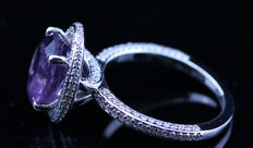 3.75ct certified Amethyst and diamond Ring – No Reserve