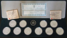 Canada - 20 Dollars 1985/1987 'Jeux Olympiques 1988 Calgary' (set of 10 coins) - silver