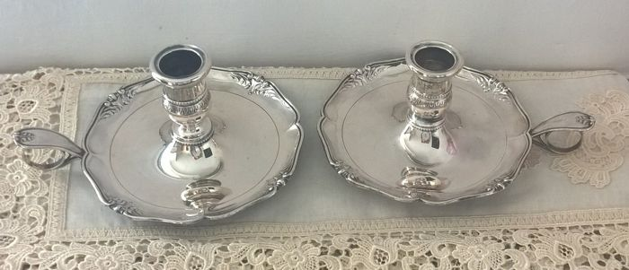 Pair of candle holders in silver 800 Alessandria, Italy, early 1900s