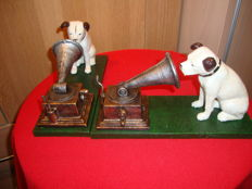 2 Cast Iron Dogs with Gramophone, the logo of His Master's Voice