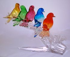 Paolo Rubelli - Forked branch with five coloured birds (43 cm)