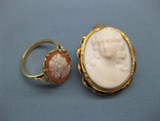 14 karat gold ring with cameo and an 18 karat gold brooch/pendant with white cameo
