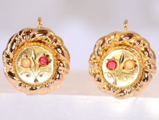 Antique Victorian red strass and pearl gold earrings - No reserve price!