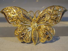 Art Deco brooch with a butterfly shape with marcasites