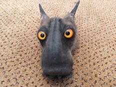 Taxidermy - Hammer-headed Bat head, mounted as paper-weight -  Hypsignathus monstrosus - 10 x 6cm - 69gm