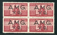 Venezia Giulia 1946 – Anglo-American Administration, Lire 100 Democratic. In four block with double perferation (one of which blind) - Sass. no. 21