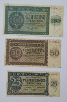 Spain - Lot of banknotes from Burgos from 1936 - 25, 50 and 100 pesetas - Pick 99a, 100a and 101a