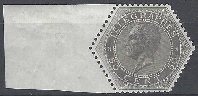 Belgium 1866 - Telegraph Stamp Leopold I 50 cents grey - OBP TG1