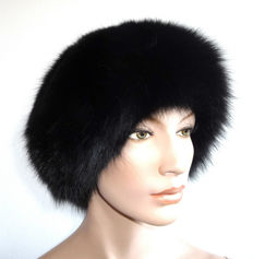 Elegant black fur hat fox fur cap fur cat