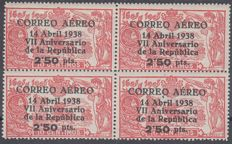 Spain 1938 - 7th Anniversary of the Republic. Air Mail - Edifil 756