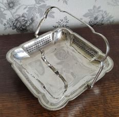 Basket with pierced decoration and folding handle, silver-plated