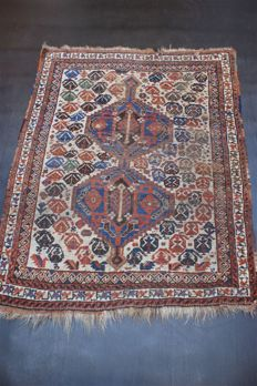Hand-knotted original antique Persian carpet, oriental Afshar approx. 138 x 104cm. Iran antique