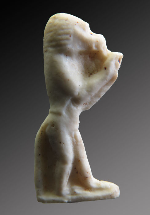 Egyptian white glass Amarna Thoth as Baboon amulet - 31 mm