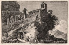 Franz Edmund Weirotter ( 1733 - 1771) - Church on a hilltop with praying monk -  1776