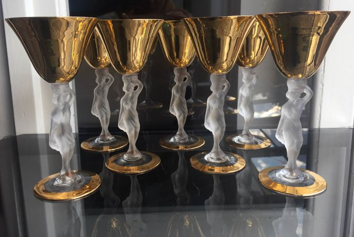 7 glasses in crystal decorated with 24 kt Gold