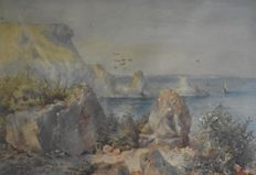 Unknown (19th century ) Fallen Rocks  - Large rocky coast line with sailing boats out at sea