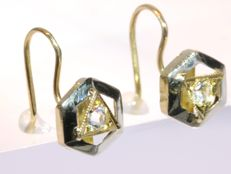 White strass diamond bicolour gold Art Deco earrings, no reserve price